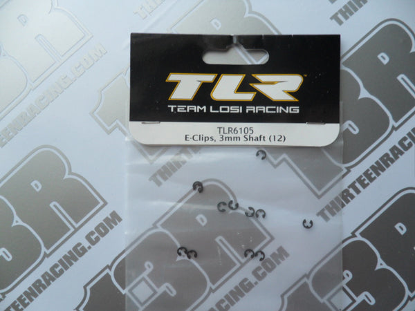 TLR 22/T/SCT E-Clips For 3mm Shafts (12pcs), TLR6105