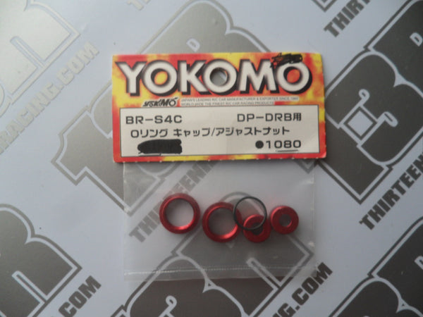 Yokomo BD-7 Aluminium O-Ring Caps/Adjusters - Red, BR-S4C, DIB, DRB