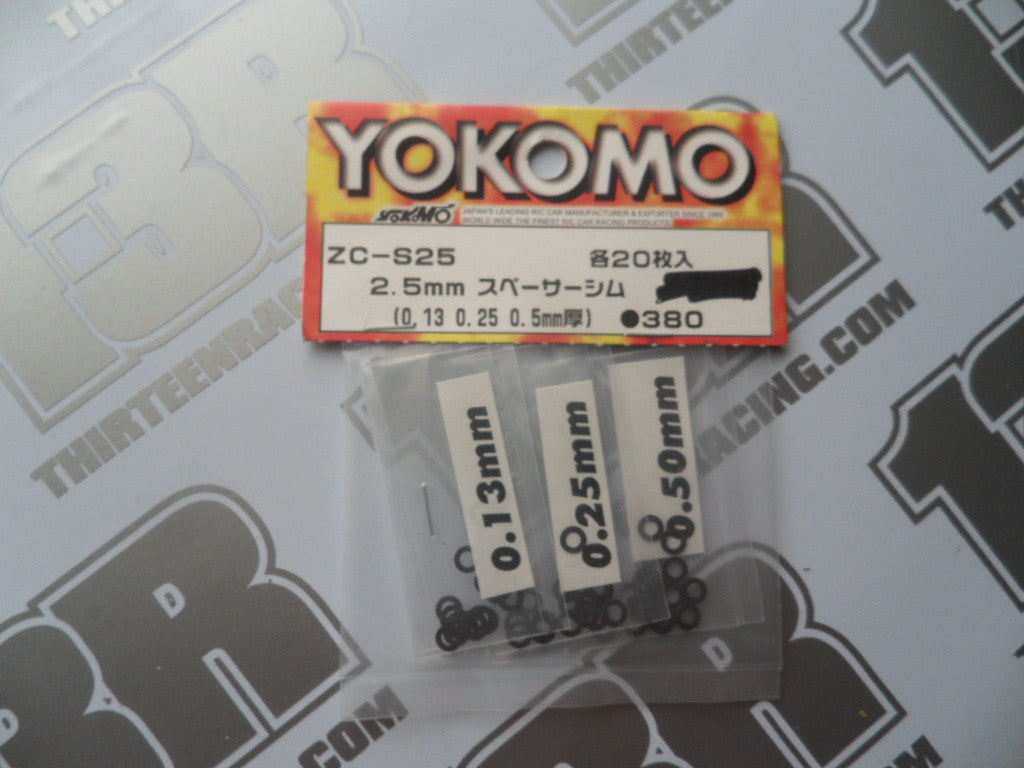 Yokomo 2.5mm Shim Set, 0.13/0.25/0.5mm, ZC-S25