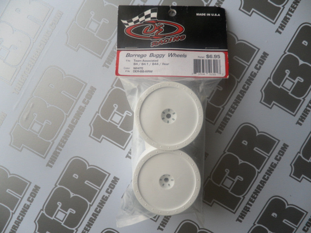 Team Associated B4/B4.1/B44/B44.1 DE Racing Borrego Rear Wheels (Pr), White, DER-BB-ARW