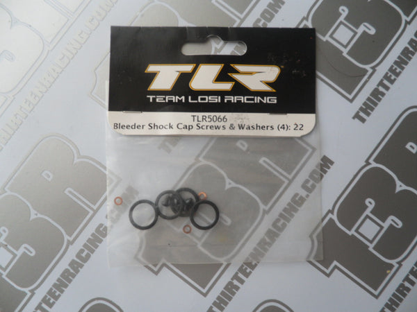 TLR Bleeder Shock Cap Seals/Screws/Washers (4), TLR5066, 22/2.0/3.0, 22-4/2.0, 22T/2.0, 22-SCT/2.0