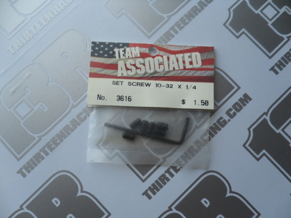 "Team Associated 10-32 x 1/4"" Set Screws - Steel (6pcs), # 3616 (Includes Wrench)"