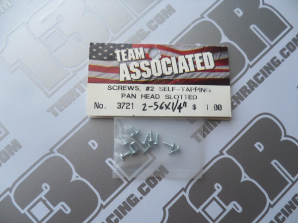 "Team Associated #2 Self Tapping 2-56 x 1/4"" Pan Head Slotted Screws (12pcs), # 3721, RC10 GT, T3"