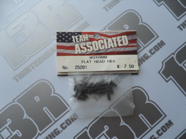 Team Associated M3 x 8mm Flat Head Countersunk Hex Screws (20pcs), # 25201