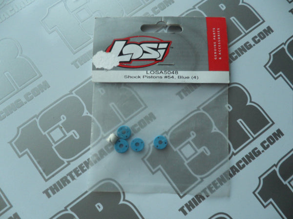 Team Losi Teflon Shock Pistons #54 Blue (4pcs), A-5048, LOSA5048