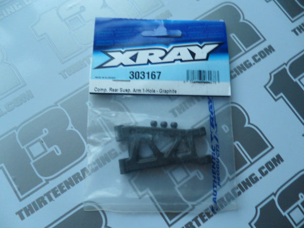 Team Xray Comp. Rear Suspension Arm - 1 Hole - Graphite, 303167, T2, T3, T4