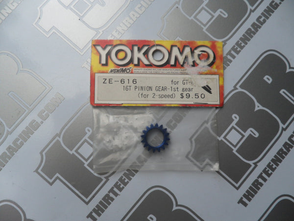 Yokomo GT-4 Blue Aluminium 16T Pinion - 1st Gear - For 2 Speed, ZE-616
