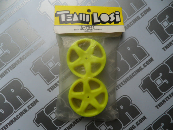 Team Losi XX 5 Spoke Front Wheels - Slim - Yellow (2pcs), A-7041, XXX, CR