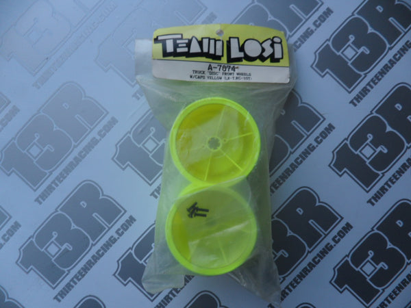 "Team Losi LXT ""Disc"" Front Wheels W/Caps - Yellow (2pcs), A-7074"