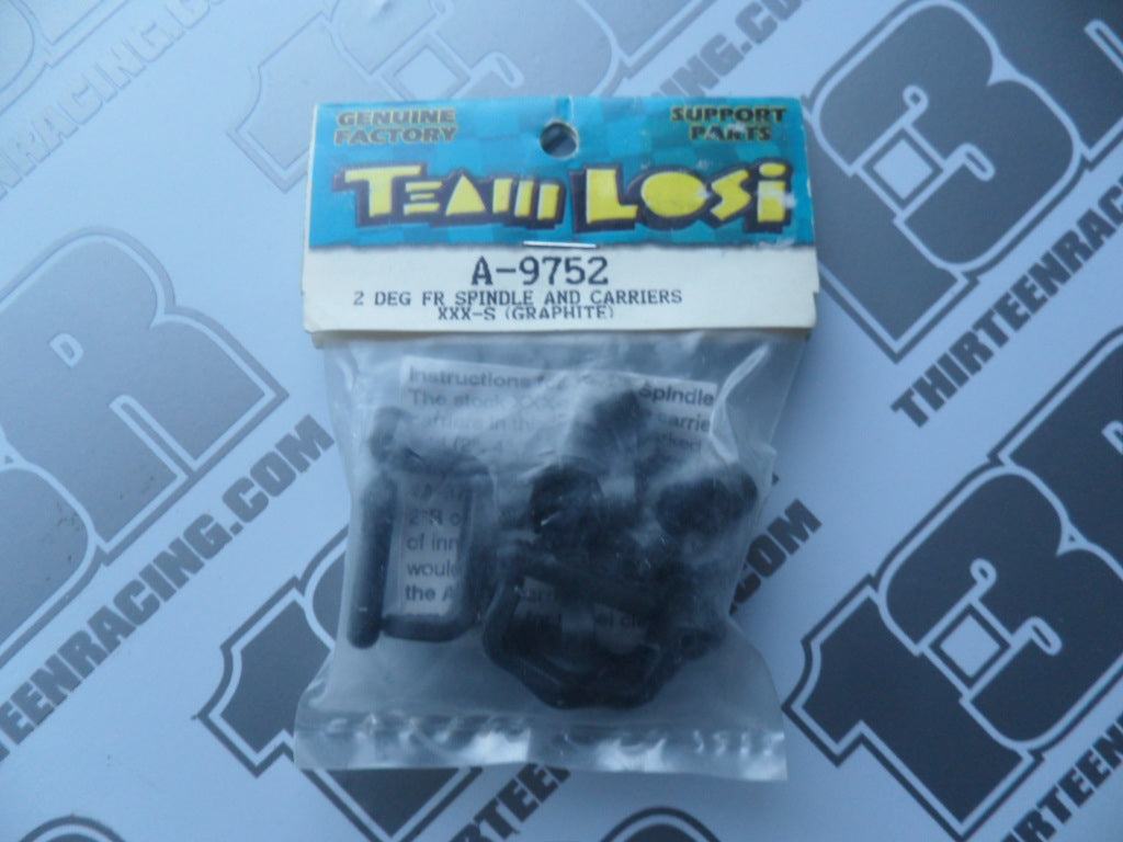 Team Losi XXX-S Graphite 2 Deg Front Spindles & Carriers, A-9752