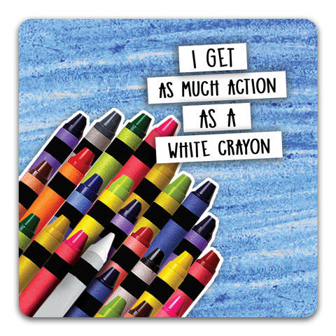 """White Crayon"" Drink Coaster by CJ Bella Co."