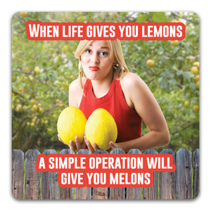 148 When Life Gives you Lemons Funny Rubber Tabletop Car Coaster by CJ Bella Co.