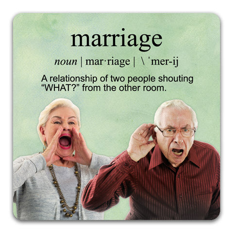 160 Definition of Marriage Funny Rubber Tabletop Car Coaster by CJ Bella Co.