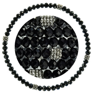Stackin' Stones Single Bracelet - Black & Silver Tones - CJ Bella Co.