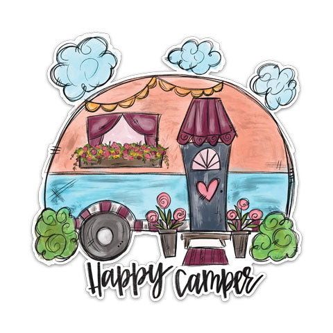 """Happy Camper"" Vinyl Decal by CJ Bella Co"