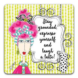 DM101-0039 Stay Grounded Drink Coaster by Dolly Mama and CJ Bella Co