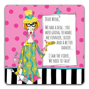 DM132-0048 Dear Wine Drink Coaster by Dolly Mama and CJ Bella Co