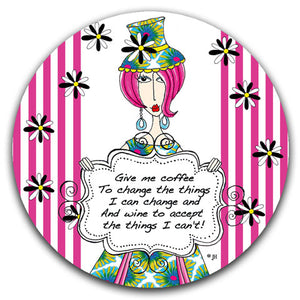 """Give Me Coffee"" Dolly Mama's by Joey Car Coaster - CJ Bella Co."
