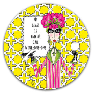 """My Glass is Empty"" Dolly Mama's by Joey Car Coaster - CJ Bella Co."