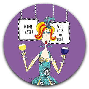 """Wine Taster"" Dolly Mama's by Joey Car Coaster - CJ Bella Co."