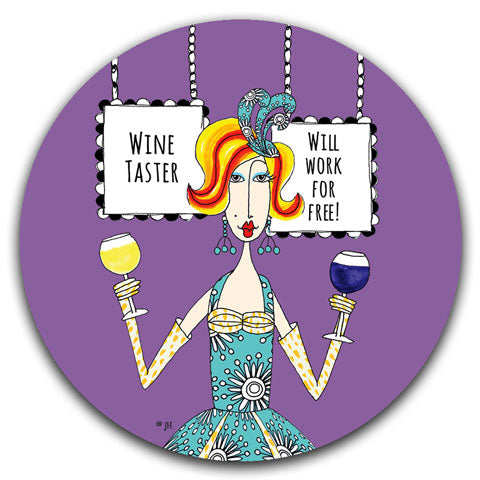 """Wine Taster"" Dolly Mama's by Joey Car Coaster"