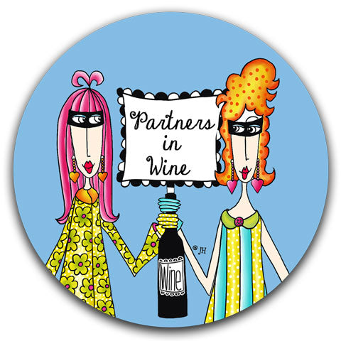 """Partners In Wine"" Dolly Mama's by Joey Car Coaster"