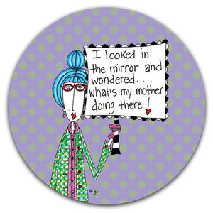 DM265-0179-I-Looked-In-The-Mirror-Rubber-Car-Coaster-Designed-and-printed-in-the-US-CJ-Bella-Co