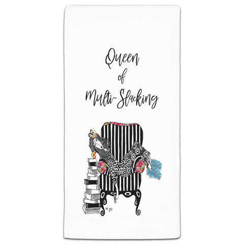 """Queen of Multi-Slacking"" Dolly Mama's by Joey Flour Sack Towel"