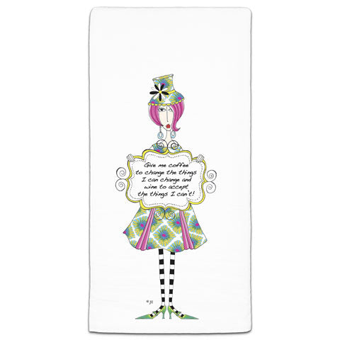 """Give Me Coffee"" Dolly Mama's by Joey Flour Sack Towel"