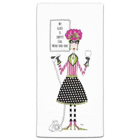 """My Glass is Empty"" Dolly Mama's by Joey Flour Sack Towel"