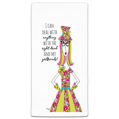 """I Can Deal With Anything"" Dolly Mama's by Joey Flour Sack Towel"