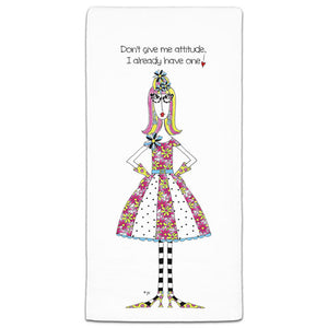 """Don't Give Me Attitude"" Dolly Mama's by Joey Flour Sack Towel - CJ Bella Co."