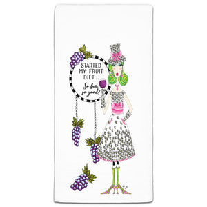 """Started My Fruit Diet"" Dolly Mama's by Joey Flour Sack Towel - CJ Bella Co."