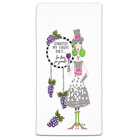 """Started My Fruit Diet"" Dolly Mama's by Joey Flour Sack Towel"