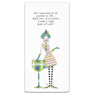 DM3-139-077-It's important to be Positive in live -Wine-Large-Glass-Towels-Dolly-Mama-CJ-Bella-Co