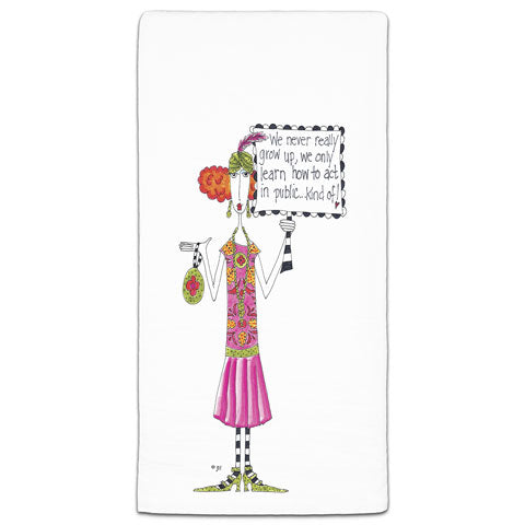 """We Never Really Grow Up"" Dolly Mama's by Joey Flour Sack Towel"