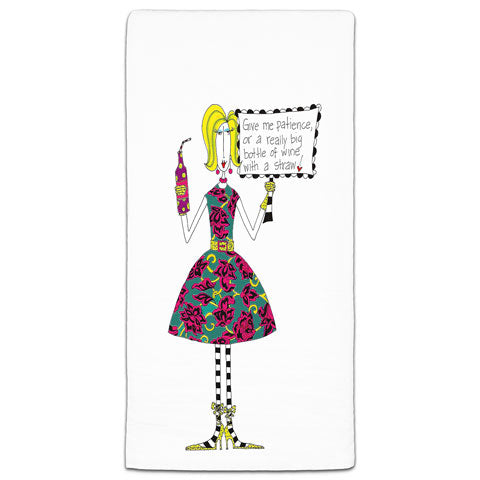 """Give Me Patience"" Dolly Mama's by Joey Flour Sack Towel"