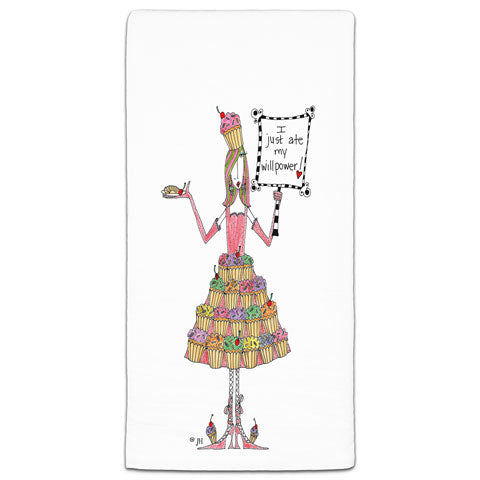 """I Just Ate My Willpower"" Dolly Mama's by Joey Flour Sack Towel"