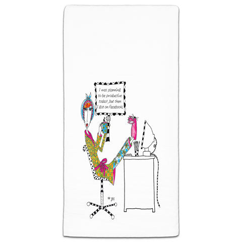 """I Was Planning on Being Productive Today"" Dolly Mama's by Joey Flour Sack Towel"