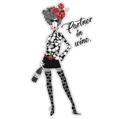 """Partner In Wine"" Vinyl Decal by Dolly Mama's by Joey"
