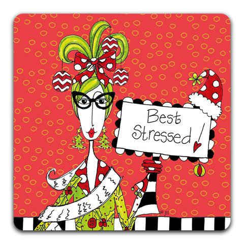 """Best Stressed"" Dolly Mama's by Joey Drink Coaster"