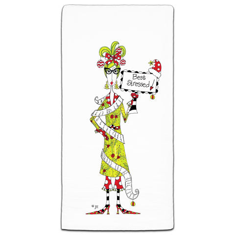 """Best Stressed"" Dolly Mama's by Joey Flour Sack Towel"