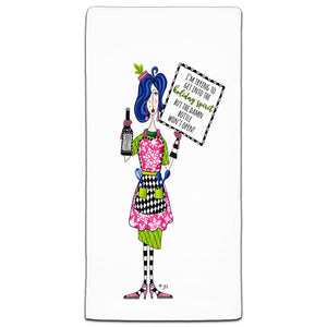 """I'm Trying To Get"" Dolly Mama's by Joey Flour Sack Towel"