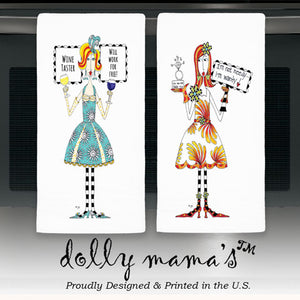"""Dear Wine"" Dolly Mama's by Joey Flour Sack Towel - CJ Bella Co."