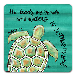 EH1-117-He-Leads-Me-Beside-Still-WatersElizabeth-Hilliard-Truth-Be-Told-Tabletop-Coaster-by-CJ-Bella-Co.