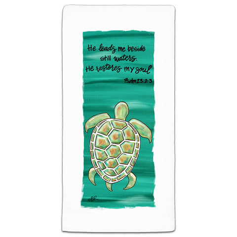 """He Leads Me"" Flour Sack Towel by Beth Radford"