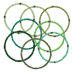Stackin' Stones Single Bracelet - Green Tones - CJ Bella Co.