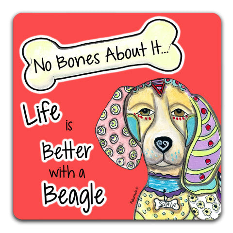 """Beagle No Bones About It"" Drink Coasters by Mellissa Meeks"