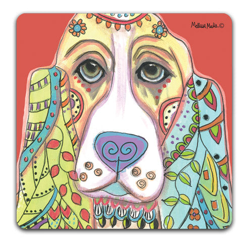 """Basset Hound Full Face"" Drink Coasters by Mellissa Meeks"