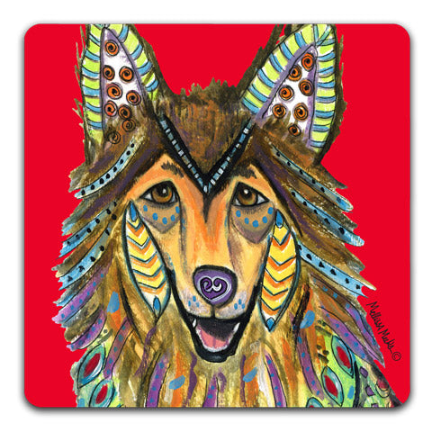 """Collie Full Face"" Drink Coasters by Mellissa Meeks"